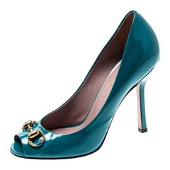 Gucci Turquoise Patent Leather Jolene Horsebit Peep Toe Pumps Size 36