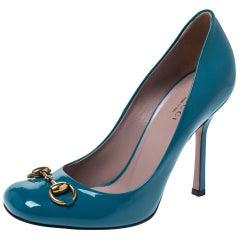 Gucci Turquoise Patent Leather Jolene Horsebit Pumps Size 36.5