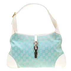 Gucci Turquoise/White Canvas and Leather Jackie Hobo