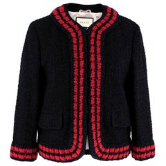 Gucci Tweed-Boucle Jacket With Red-Knit Trim SIZE 46