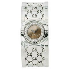 Gucci Twirl 112 Womens Quartz Watch Bronze Dial Bangle Stainless Steel