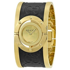 Gucci Twirl Gold Dial Ladies Two-Tone Bangle Watch Item No. Ya112444
