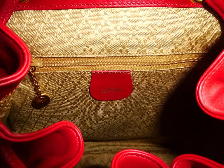 GUCCI  two pocket backpack iconic bamboo red leather  For Sale 5