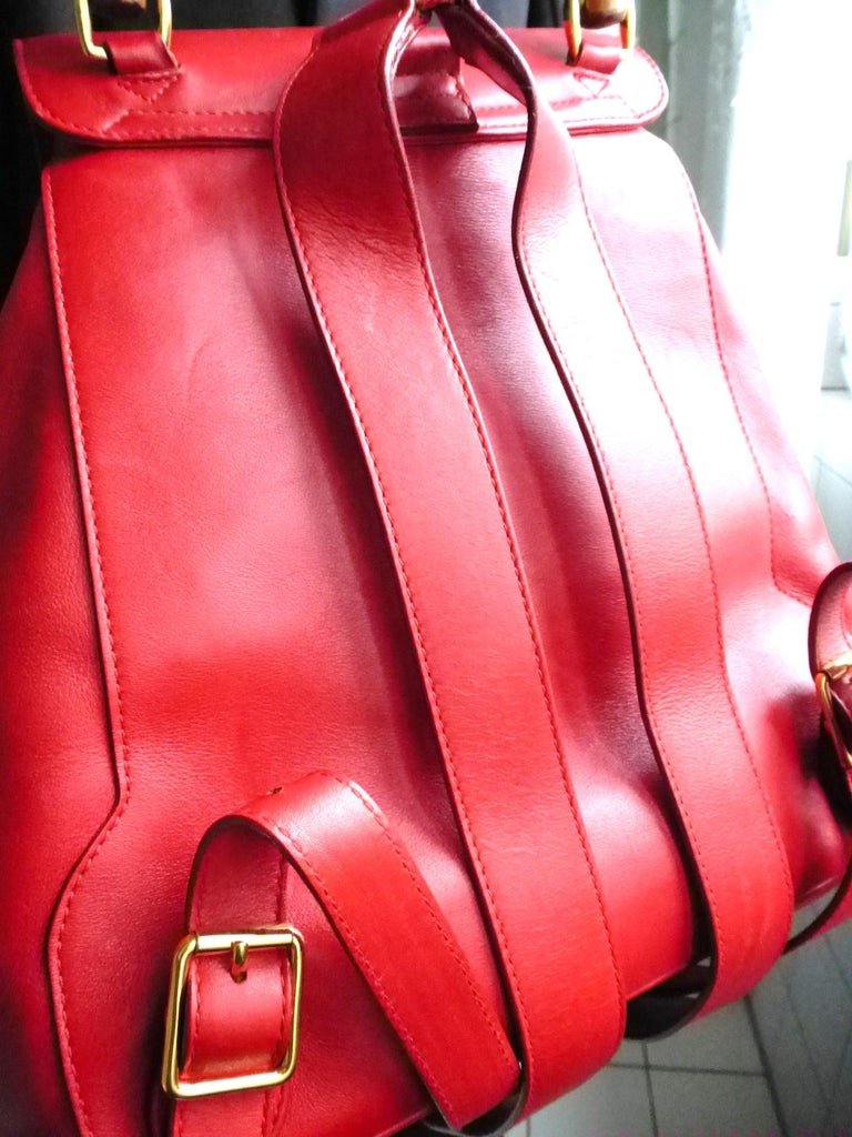 GUCCI  two pocket backpack iconic bamboo red leather  For Sale 6