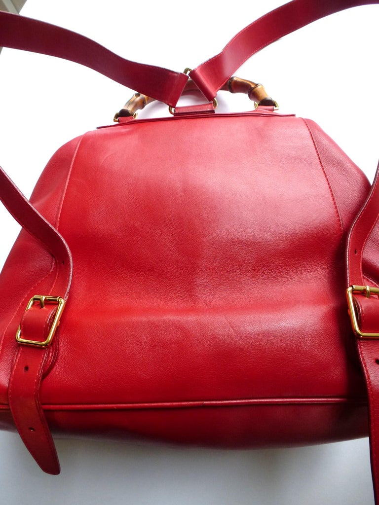 GUCCI  two pocket backpack iconic bamboo red leather  For Sale 7