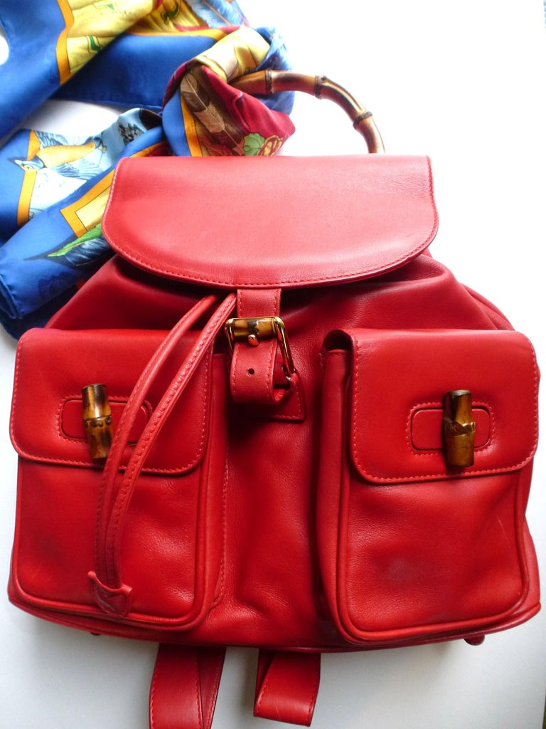 Red GUCCI  two pocket backpack iconic bamboo red leather  For Sale