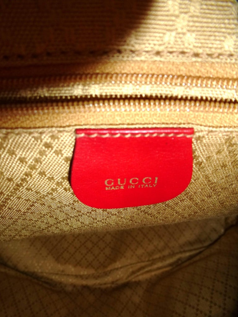 GUCCI  two pocket backpack iconic bamboo red leather  For Sale 1