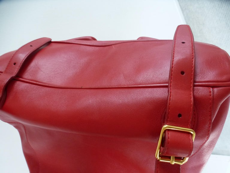 GUCCI  two pocket backpack iconic bamboo red leather  For Sale 2
