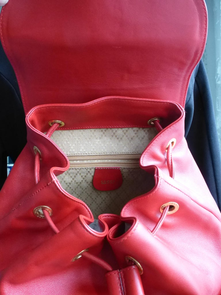 GUCCI  two pocket backpack iconic bamboo red leather  For Sale 3