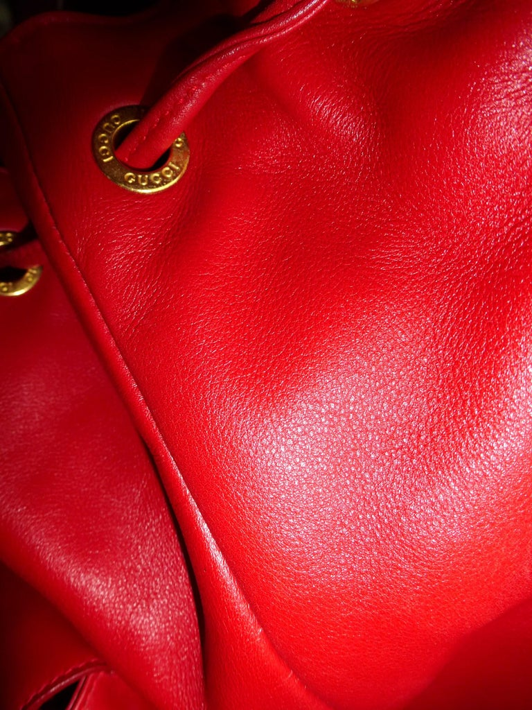GUCCI  two pocket backpack iconic bamboo red leather  For Sale 4