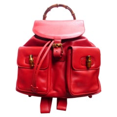 GUCCI  two pocket backpack iconic bamboo red leather