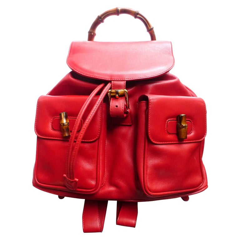 GUCCI  two pocket backpack iconic bamboo red leather  For Sale