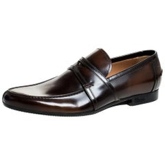 Gucci Two Tone Brown/Dark Brown Leather Penny Loafers Size 39.5