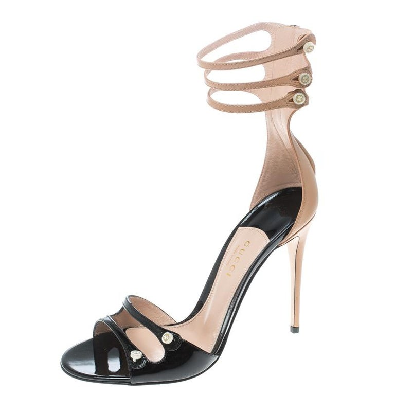c5752983f86 Gucci Two Tone Leather Mother of Pearl Button Ankle Strap Open Toe Sandals  Size For Sale