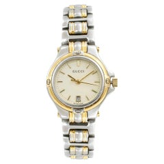 Gucci Two-Tone Steel Cream Sticks Dial Quartz Ladies Watch 9040L