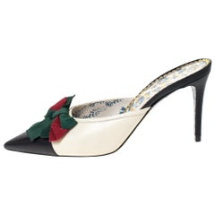Gucci Two Tone Web Bow Embellished Jane Slide Mules Size 40