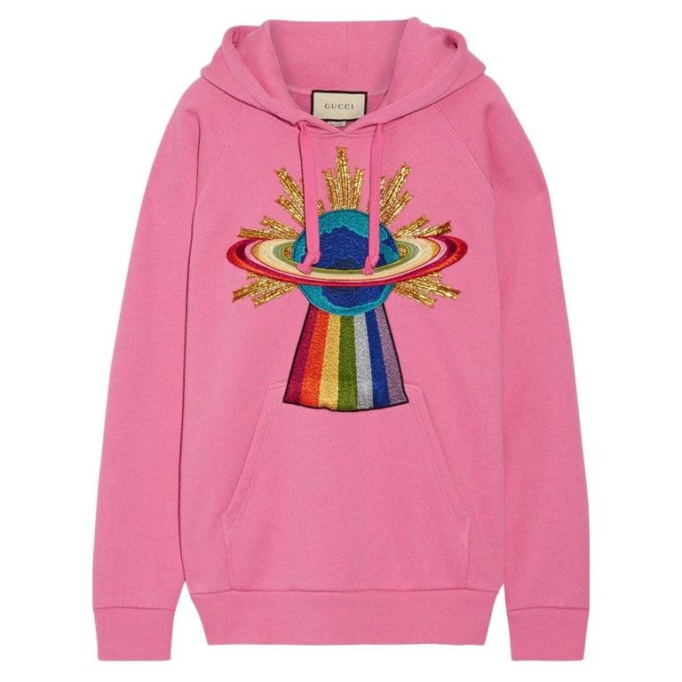 Gucci UFO Appliquéd Cotton-Jersey Hoodie