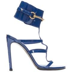 GUCCI Ursula blue patent gold horsebit buckle caged high heel sandals EU37.5