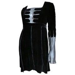 Gucci Velvet and Sheer Silk Dress