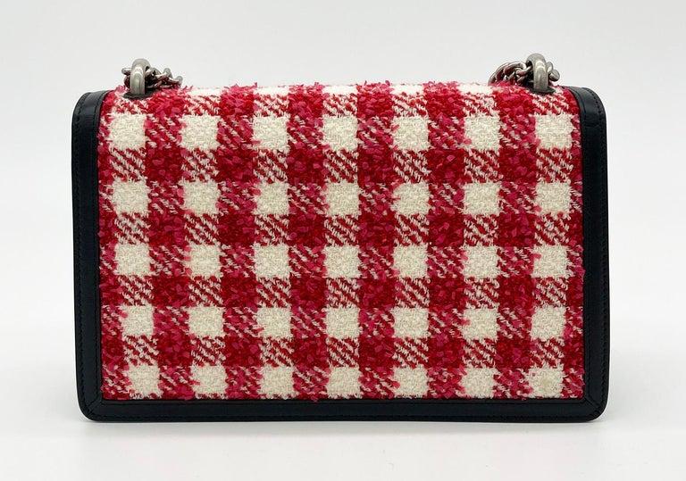 Black Gucci Vichy Wool Tweed Small Dionysus Shoulder Bag For Sale