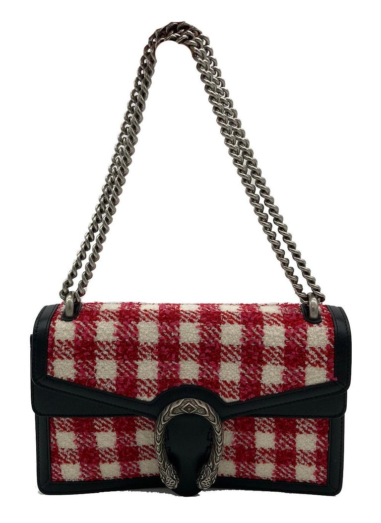 Women's Gucci Vichy Wool Tweed Small Dionysus Shoulder Bag For Sale