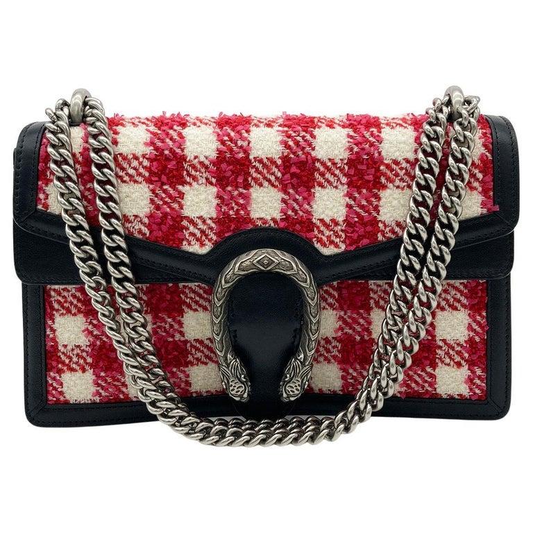 Gucci Vichy Wool Tweed Small Dionysus Shoulder Bag For Sale