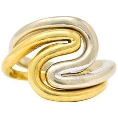 Gucci Vintage 18 Karat Two-Tone Gold Wave Stacking Rings