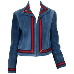 Gucci Vintage 1970's  Blue Suede Jacket Red & Blue Web Trim
