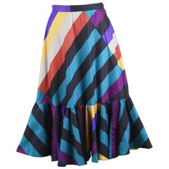 Gucci Vintage Colorful Striped Cotton Skirt with Full Flounce Hem, 1970s