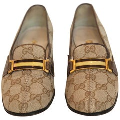Gucci Vintage 1970's GG Logo Loafer Pump