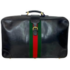 Gucci Vintage 1980's Leather Sylvie Web Leather Lock Extra Large Suitcase