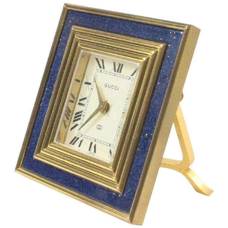 Gucci Vintage 8-Day Blue Lapis Travel Clock For Sale