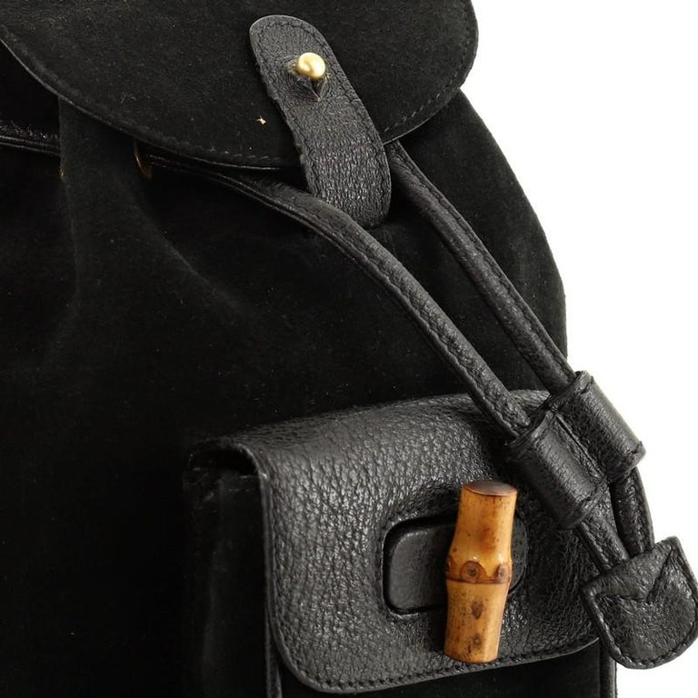 Gucci Vintage Bamboo Backpack Suede Mini For Sale 2