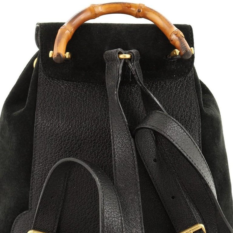 Gucci Vintage Bamboo Backpack Suede Mini For Sale 3