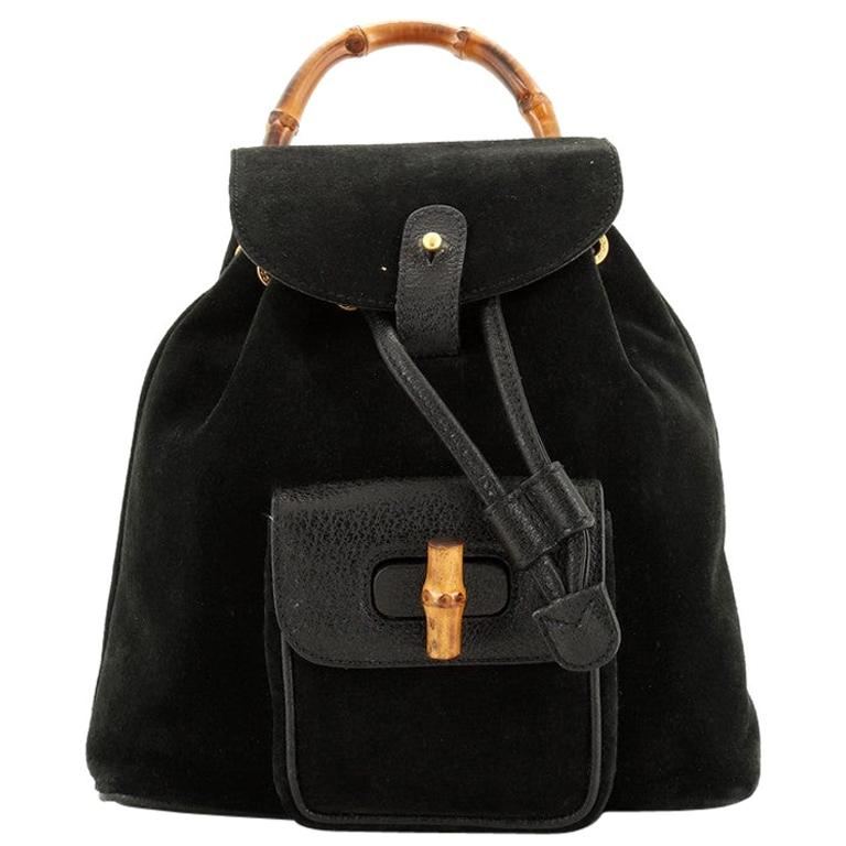Gucci Vintage Bamboo Backpack Suede Mini For Sale