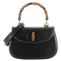 Gucci Vintage Bamboo Convertible Top Handle Bag Leather