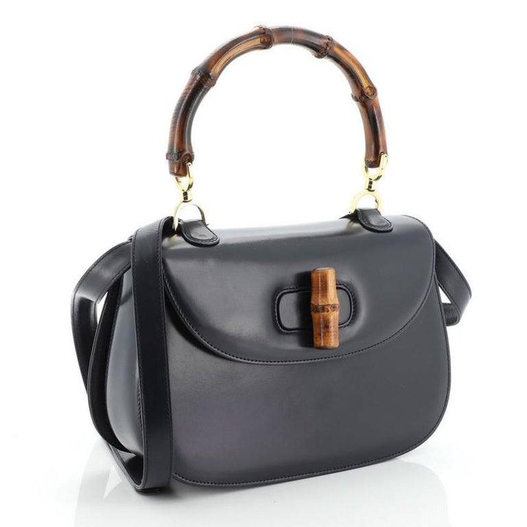 Gucci Vintage Bamboo Convertible Top Handle Bag Leather Medium In Good Condition For Sale In New York, NY