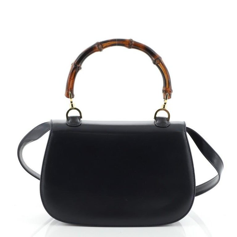 Women's or Men's Gucci Vintage Bamboo Convertible Top Handle Bag Leather Medium For Sale