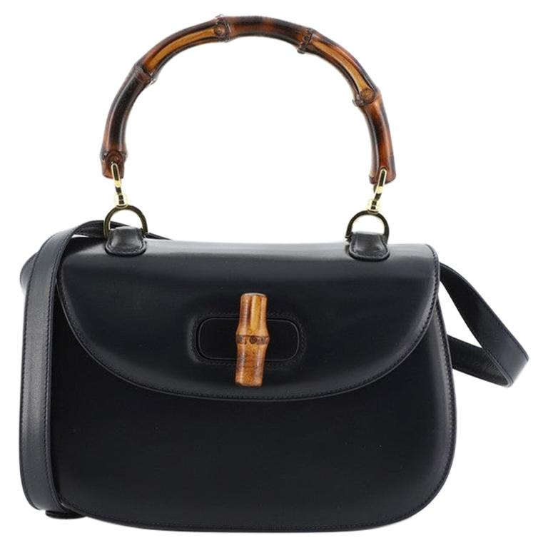 Gucci Vintage Bamboo Convertible Top Handle Bag Leather Medium For Sale