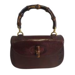 Gucci Vintage Bamboo Snakeskin Handbag, 1960