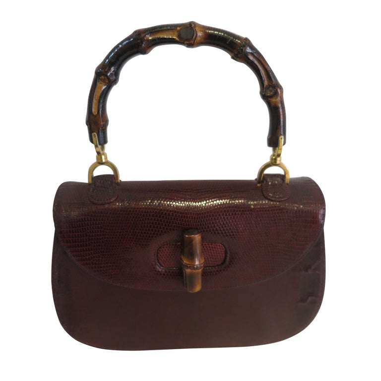 a5835d1a7db4 Gucci Vintage Bamboo Snakeskin Handbag, 1960 For Sale at 1stdibs