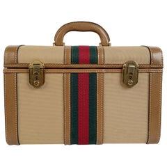 Gucci Vintage Beige Canvas Hard Train Case Beauty Bag