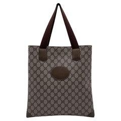 Gucci Vintage Beige GG Monogram Canvas Shopping Bag Tote
