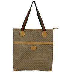 Gucci Vintage Beige GG Monogram Web Canvas  Tote Shopping Bag