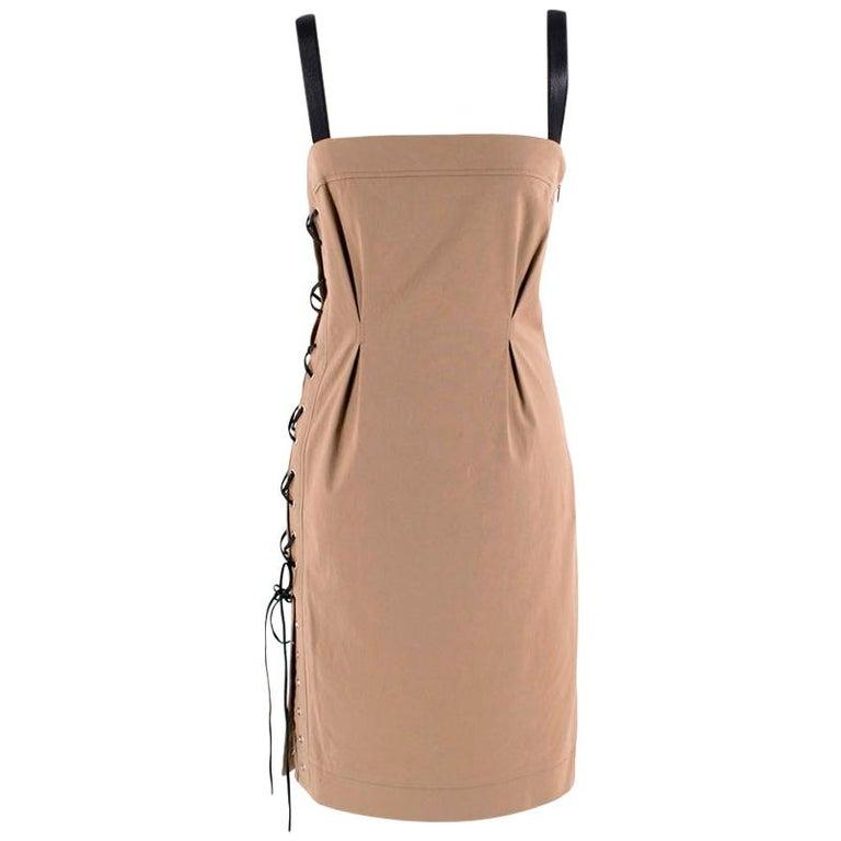 Gucci Vintage Beige Lace-Up Mini Dress - Size US4 For Sale
