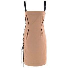 Gucci Vintage Beige Lace-Up Mini Dress - Size US4