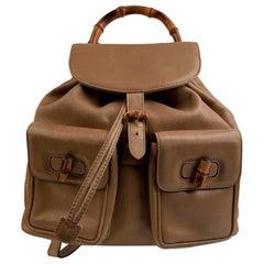 Gucci Vintage Beige Leather Bamboo MM Backpack Shoulder Bag