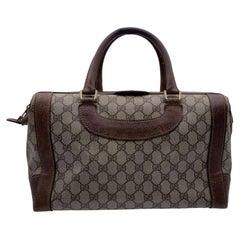 Gucci Vintage Beige Monogram Canvas Boston Bag Handbag