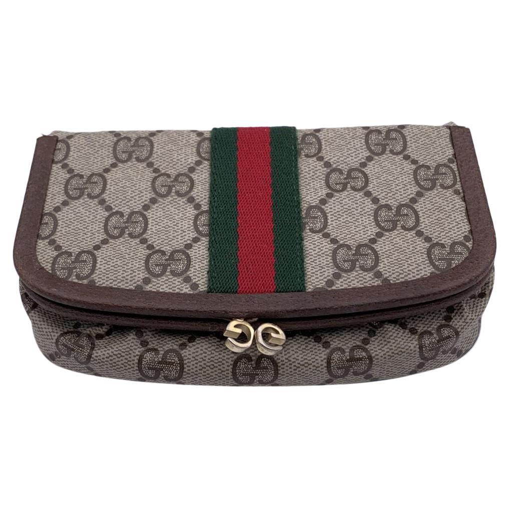Gucci Vintage Beige Monogram Canvas Cosmetic Case with Mirror