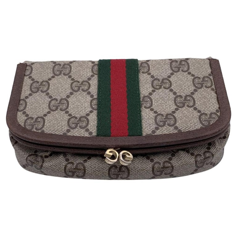 Gucci Vintage Beige Monogram Canvas Cosmetic Case with Mirror For Sale